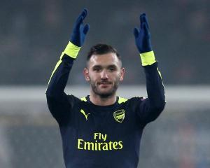 Arsenal's Lucas Perez celebrates after the match Photo Reuters