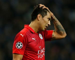 Leicester City's Leonardo Ulloa shows his frustration. Photo Reuters