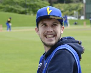 Otago fast bowler Warren Barnes takes a break during a practice session at the University Oval...