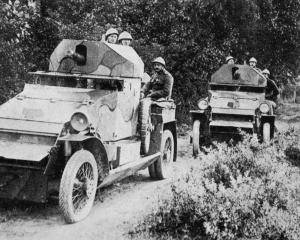 Belgian armoured cars which the new national army holds in reserve. — Otago Witness, 6.12.1916.