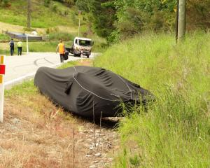 A McLaren F1 in a ditch outside Queenstown. Photo: Paul Taylor.