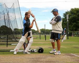 Black Caps batting coach Craig McMillan (right) with Kane Williamson during the test series...