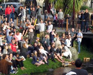 Revellers at Queenstown's impromptu Crate Day party. Photos: Philip Chandler.