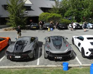 Some of the 30 McLarens on a tour from Auckland to Queenstown lined up outside the Edgewater...