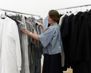 Otago Polytechnic fashion design lecturer Annette Cadogan checks out the fashion at Citizen...