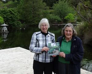 Garden writer Gillian Vine (left) and Friends of the Dunedin Botanic Garden volunteer Louise...