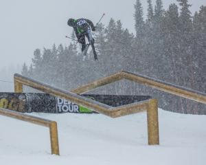 Jossi Wells flies through the air at Breckenridge, in Colorado, yesterday.PHOTO: GEORGE CROSLAND...