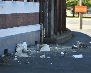 Fallen masonry from the roof cornice of the former Dunedin Police Station. Photo: Gregor Richardson