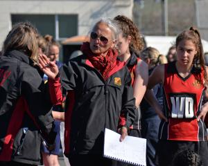 Waitaki Girls' coach Georgie Salter plots the attack. Photo: Carol Edwards.