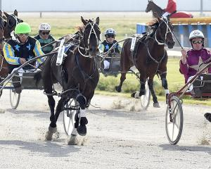 Buffy Bay (right), driven by his Canterbury trainer, Jack Harrington, wins a c0 pace from Essence...