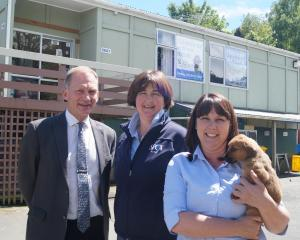John McKenzie, of McKenzie Architects, (left) and SPCA Otago chief executive Sophie McSkimming...