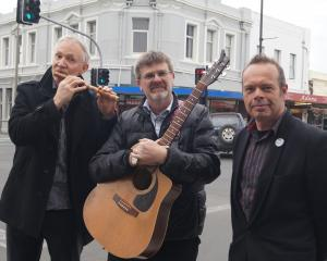 South Dunedin Buskers Festival organisers (from left) Craig Waterhouse, Paul Allen and Darryl...
