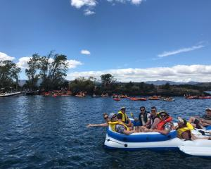 People who attended the Ruby Island party on Thursday start paddling back to Wanaka  in...