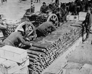 Loading limbers with ammunition for the big guns on the Somme front. — Otago Witness, 6.12.1916.