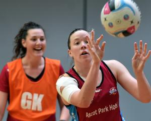 Abby Erwood prepares to catch the ball as Jennifer O'Connell watches on at the Southern Steel's...