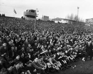 Part of the crowd at Carisbrook for the 1956 All Black V Springbok match. Photo: ODT.