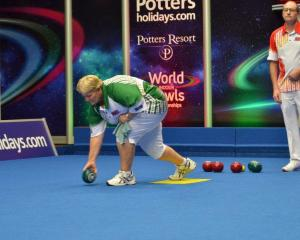 Debbie Wilford delivers a bowl in the first round of the PBA world indoor singles final in...