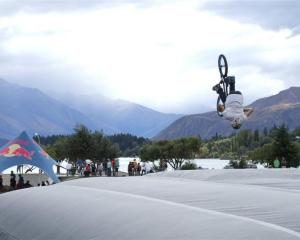 Dunedin rider Max Evans flips his BMX on to the airbag set up at Pembroke Park in Wanaka on...