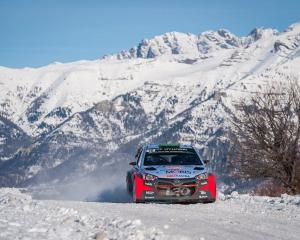 Hayden Paddon and co-driver John Kennard compete in the notoriously slippery 2016 Monte Carlo...