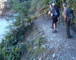 Department of Conservation staff examine a section of track in the Dart Valley that was washed...
