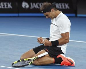 Rafael Nadal after winning his quarterfinal. Photo: Reuters