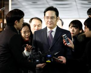 Samsung Group leader Jay Y. Lee did not answer questions from reporters as he left the Seoul...