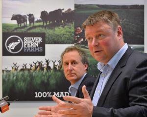 Silver Fern Farms chairman Rob Hewett (right) and chief executive Dean Hamilton. PHOTO: GERARD O...