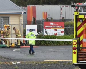 Emergency services attend a sulphuric acid spill at Otago Waste Management Services in Dunedin...