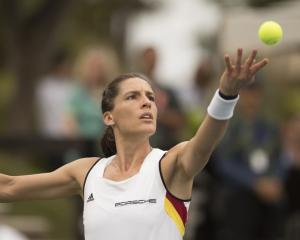 Andrea Petkovic in action during her match against Alison Riske at the USA vs Germany Fed Cup tie...