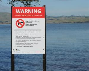 A toxic algae warning sign at Lake Waihola the last time blooms required ORC intervention.