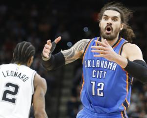 Steven Adams reacts after receiving a foul against the San Antonio Spurs. Photo: Getty Images