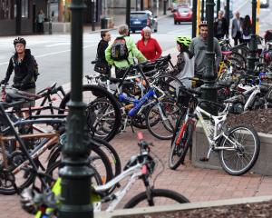 Dunedin's Octagon was overrun with cyclists for the  annual Bike Breakfast yesterday. Photo by...