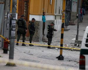 Police work the scene where an explosion occurred near Bogota's bullring. Photo: Reuters