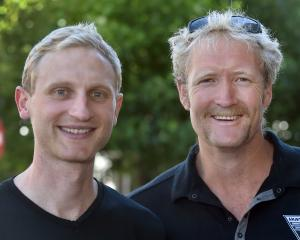 Double Olympic gold medallists Hamish Bond (left) and Eric Murray, in Dunedin yesterday to speak...