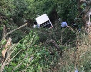 A tourist bus has crashed down a hill near Akaroa. Photo: NZ Herald