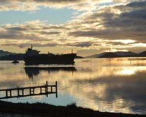 The 175m-long oil tanker Matuku glides up Otago Harbour last August, delivering fuel from the...
