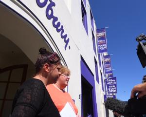Dunedin Cadbury Factory machine operators Teresa Gooch and Donna Bouma spoke to media outside the...