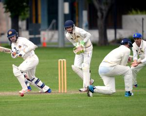 Otago keeper Derek de Boorder hits the ball into the legside during an intrasquad match Croudis...