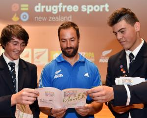 At a Drug Free Sport New Zealand seminar at Otago Boys' High School yesterday are  (from left)...
