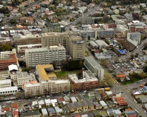An aerial view showing the central city location of Dunedin Hospital. PHOTO: STEPHEN JAQUIERY