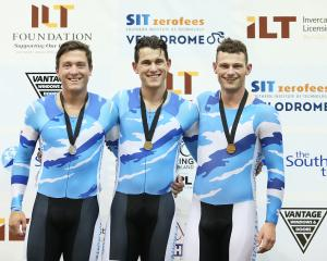 Auckland riders (from left) Ethan Mitchell (silver), Sam Webster (gold) and Zac Williams (bronze)...