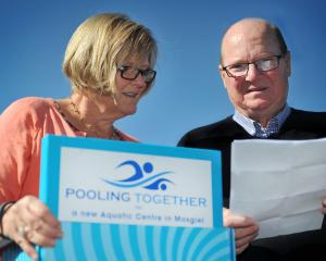 Taieri Communities Facility Trust chairwoman Irene Mosley and trust member Bill Feather read...