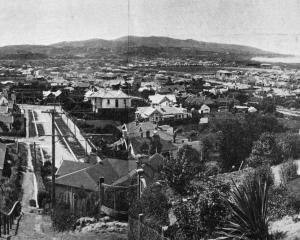 A panoramic view of St Clair, St Kilda and part of South Dunedin from the steps above Valpy St,...
