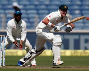Matt Renshaw bats for Australia against India. Photo: Reuters