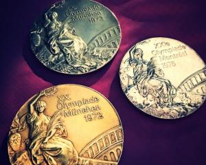 Olga Korbut's Olympic medals from the 1972 Munich games. Photo: Twitter