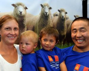 Zoe Leetch, Temulen (2), Tushinbayar (4) and Enkhnasan Chuluunbaatar at the World Shearing and...
