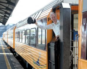 Dunedin Railways chief executive Murray Bond waves goodbye to the job in October. Photo: Linda...