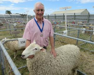 Farmer Digger McCulloch with Border Leicester 51, this year's Fulton Memorial Supreme Sheep of...