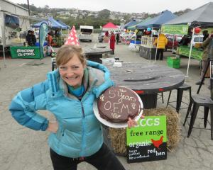 Oamaru Farmers' Market manager Lucianne White at a market celebration last year. The market could...