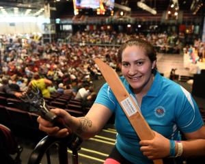 Shearer and wool-handler Pagan Karauria at the world championships in Invercargill. Photo:...